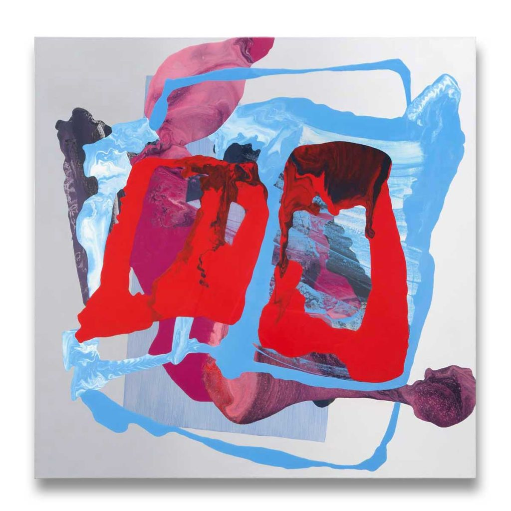 Ha ça ira red 4 oil on canvas 91.44 cm x 91.44 cm.